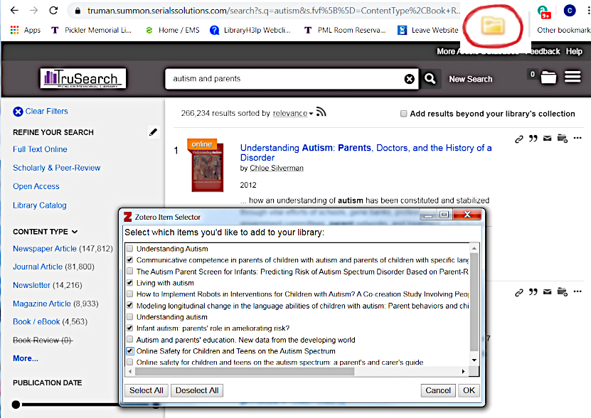 TruSearch with Zotero Window