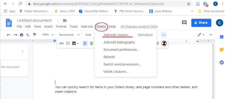Google Docs Zotero Connector