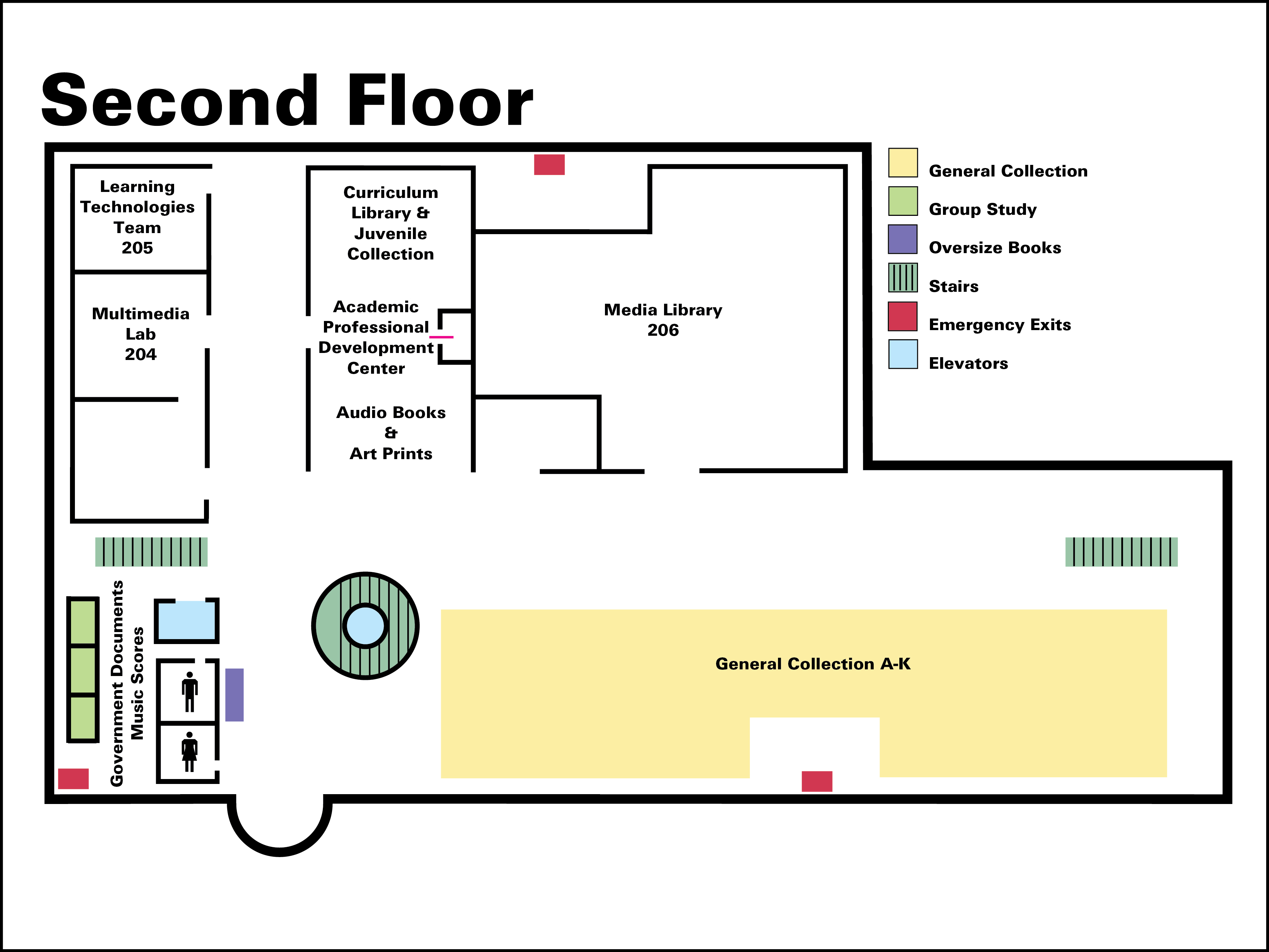 Library building map second floor for 100 floors 3rd floor