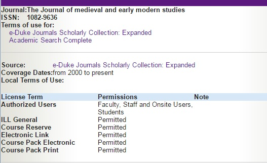 JournalFinder Terms of Use example